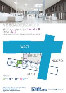 Traject vanaf hoofdinkom 'Atrium' naar de vergaderzaal op Oost+1