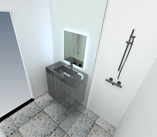 Door de computertekeningen krijgt de klant reeds tijdens het ontwerp een perfect beeld van de badkamer, de keuze van de tegels enz.